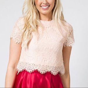 Pink Eyelash Lace Crop top NWT